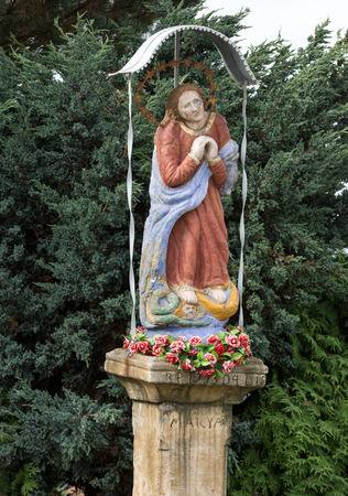 reverence: Old Wayside shrine in Mucharz near Cracow. poland