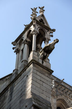 gargoyles: Paris - The gargoyles on the north side wall of the  Notre Dame Cathedral
