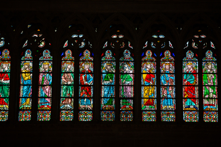 stained glass windows: Stained glass windows inside the Notre Dame Cathedral, UNESCO World Heritage Site. Paris, France