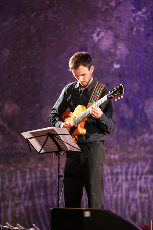 salt mine: WIELICZKA, POLAND - NOVEMBER 2, 2015: Adam Kawonczyk Quartet playing live music at The Cracow Jazz All Souls' Day Festival in The Wieliczka Salt Mine. Poland Editorial