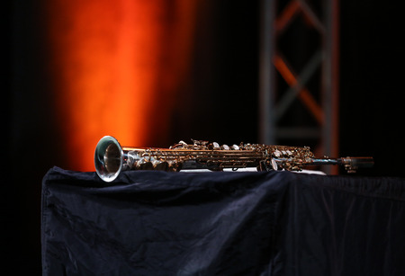 soprano saxophone: Saxophone soprano jazz music instrument Foto de archivo