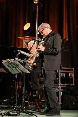 shepard: CRACOW, POLAND - NOVEMBER 3, 2015: Andy Shepard and Carla Bley Trios playing live music at The Cracow Jazz All Souls  Day Festival in Cracow. Poland Editorial