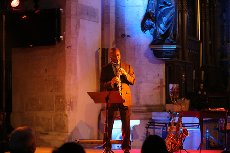 all souls day: CRACOW, POLAND - OCTOBER 29, 2015: Branford Marsalis, sax, playing live music at The Cracow Jazz All Souls Day Festival in Saint Catherine Church. Cracow. Poland