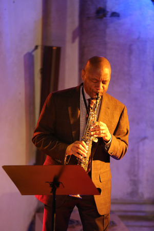 virtuoso: CRACOW, POLAND - OCTOBER 29, 2015: Branford Marsalis, sax, playing live music at The Cracow Jazz All Souls Day Festival in Saint Catherine Church. Cracow. Poland