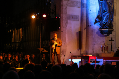 catherine: CRACOW, POLAND - OCTOBER 29, 2015: Branford Marsalis, sax, playing live music at The Cracow Jazz All Souls Day Festival in Saint Catherine Church. Cracow. Poland