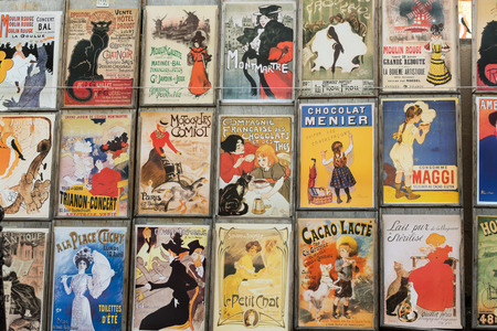 the famous poster of Le Chat Noir, the black cat, and other pictures in Montmartre, Paris on  Le Chat Noir was a 19th century cabaret club in Montmartre.