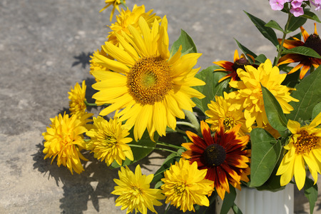 biomass: the beautiful bouquet from sunflowers, hydrangeas and chrysanthemums Stock Photo