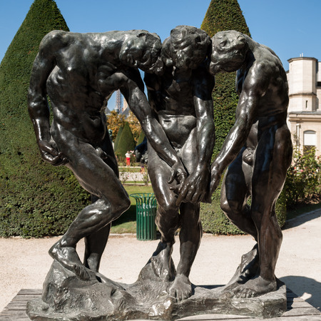 comedy: Paris - Museum Rodin. Sculpture of the Three Shades  inspired with Divine Comedy of Dante