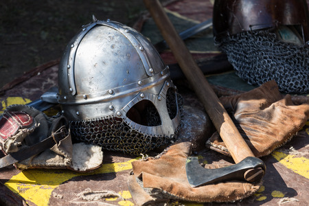 knight in armor: Cracow, Poland. Knight camp during the traditional Medieval festival Stock Photo