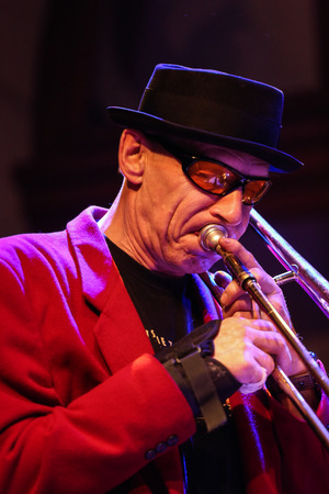 all souls day: CRACOW, POLAND - OCTOBER 30, 2015: Boba Jazz Band playing live music at The Cracow Jazz All Souls Day Festival in Jaszczury Club. Cracow. Poland