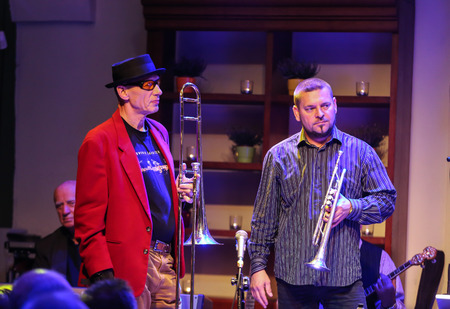 the quartet: CRACOW, POLAND - OCTOBER 30, 2015: Boba Jazz Band playing live music at The Cracow Jazz All Souls Day Festival in Jaszczury Club. Cracow. Poland