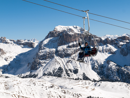 sella: Skiing area in the Dolomites Alps. Overlooking the Sella group  in Val Gardena. Italy