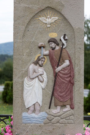 cracow: Old Wayside shrine in Mucharz near Cracow. Poland Stock Photo