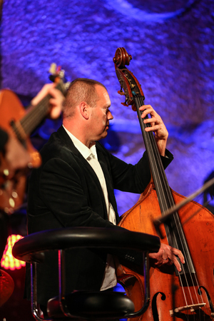 salt mine: WIELICZKA, POLAND - NOVEMBER 2, 2015: Adam Kawonczyk Quartet playing live music at The Cracow Jazz All Souls' Day Festival in The Wieliczka Salt Mine. Poland