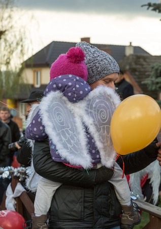 aureola: LANCKORONA, POLAND - DECEMBER 12, 2015: the winter-festival Angel in the country town. In this original way for many years now the country town promotes itself before tourists. Lanckorona, Poland Editorial