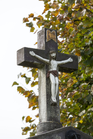 devotional: Old Wayside shrine in Siepraw near Cracow. Poland Stock Photo