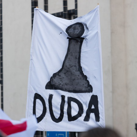 democracy: CRACOW, POLAND - JANUARY 9, 2016:  -  The demonstration of the Committee of the Defence  of the Democracy  KOD  for free media wolne media and democracy against PIS government. Cracow , Poland Editorial