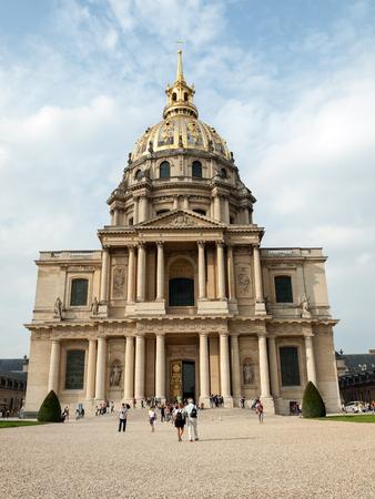 invalides: View of Dome des Invalides, burial site of Napoleon Bonaparte, Paris, France