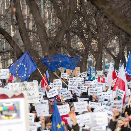 objection: CRACOW, POLAND - JANUARY 9, 2016:  -  The demonstration of the Committee of the Defence  of the Democracy  KOD  for free media wolne media and democracy against PIS government. Cracow , Poland Editorial