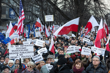 CRACOW, POLAND - JANUARY 9, 2016:  -  The demonstration of the Committee of the Defence  of the Democracy  KOD  for free media wolne media and democracy against PIS government. Cracow , Poland Editorial