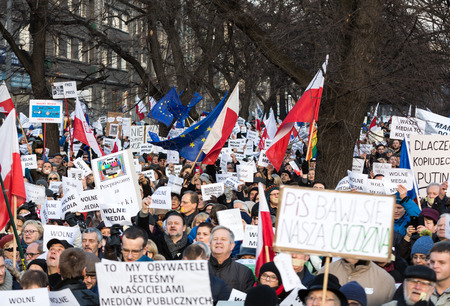 make public: CRACOW, POLAND - JANUARY 9, 2016:  -  The demonstration of the Committee of the Defence  of the Democracy  KOD  for free media wolne media and democracy against PIS government. Cracow , Poland Editorial