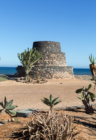 bulwark: Ancient Castle in Caleta de Fuste. Canary Island Fuerteventura, Spain