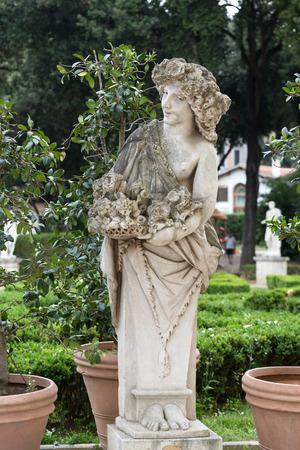 villa borghese: White marble statue in Villa Borghese. Rome,  Italy Stock Photo