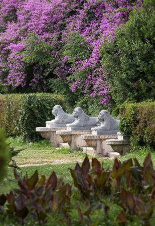 villa borghese: Lion sculpture in Garden of Villa Borghese. Rome, Italy