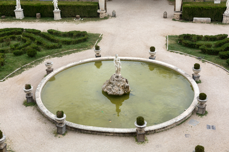 villa borghese: Marble statues and fountain in Villa Borghese, public park in Rome. Italy  Italy Stock Photo