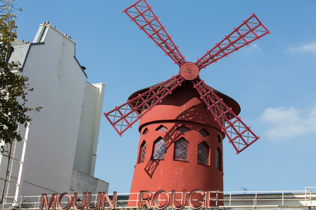 moulin: The Moulin Rouge in Paris, France. Moulin Rouge is the most famous Parisian cabaret and it created the modern can-can dance.