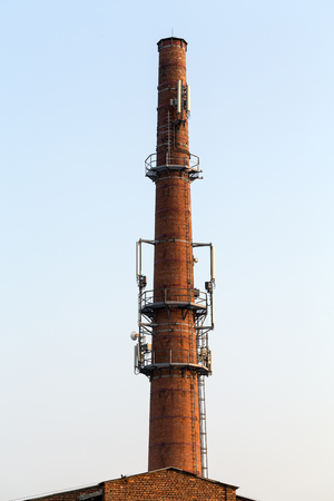 transceiver: Base transceiver station on the old brick chimney
