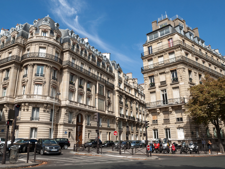 champs elysees quarter: facade of typical house with balcony in Paris, France Editorial