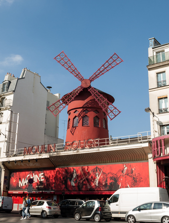 scandalous: The Moulin Rouge in Paris, France. Moulin Rouge is the most famous Parisian cabaret and it created the modern can-can dance.