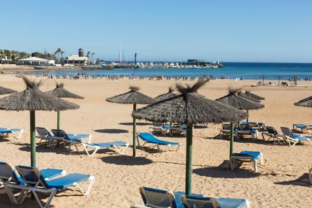 canary island: Sun lounger on the beach of Caleta de Fuste, Canary Island Fuerteventura, Spain