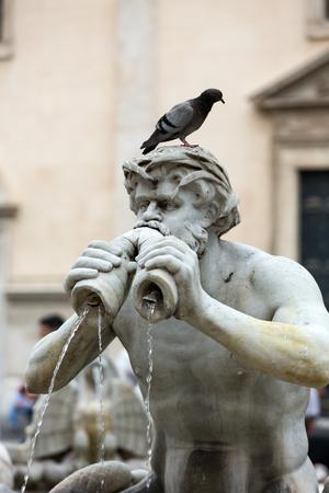 navona:  Fontana del Moro (Moor Fountain) in Piazza Navona. Rome, Italy