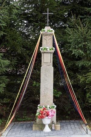 devotional: Old Wayside shrine in Mucharz near Cracow. Poland Editorial