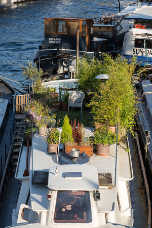 atraction: living barge on the Seine in Paris. France
