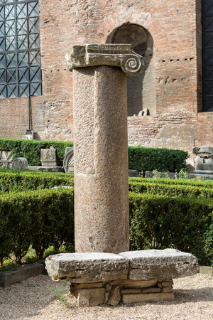 roman column: Ancient Roman column in the ruins of the Baths of Diocletian in Rome, Italy