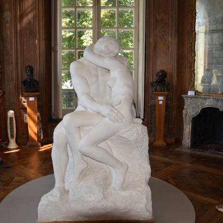 Paris - Rodin Museum. Sculpture of the Kiss. The Kiss originally Represented Paolo and Francesca, two characters borrowed, once again, from Danteâs Divine Comedy