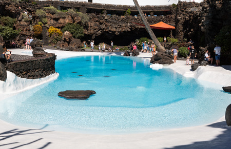 manrique: Swimming pool in the Jameos del Agua. Lanzarote.Spain. Editorial