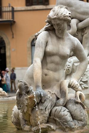 neptun: Piazza Navona Fountain of Neptun. Designed by Giacomo della Porta (1574) and Antonio della Bitta. Rome, Italy Editorial