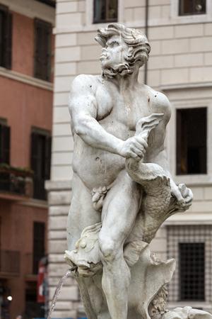 moor: Fontana del Moro (Moor Fountain) in Piazza Navona. Rome, Italy
