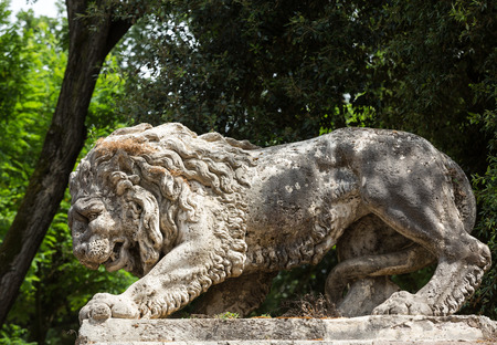 bernini: Lion sculpture in Garden of Villa Borghese. Rome, Italy
