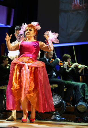 dramas: CRACOW, POLAND - FEB 27, 2016: Spectacle featuring Filharmonia Futura and M.  Walewska - Opera Is Life, or in other words: lies, love, betrayal and death in the greatest opera dramas of all times