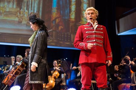CRACOW, POLAND - FEB 27, 2016: Spectacle featuring Filharmonia Futura and M.  Walewska - Opera Is Life, or in other words: lies, love, betrayal and death in the greatest opera dramas of all times
