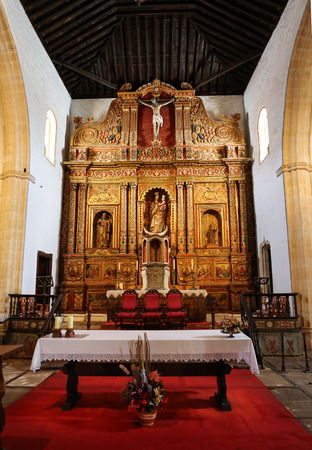 nave: Main nave and altar in  Cathedral Church of Saint Mary of Betancuria in Fuerteventura, Canary Islands, Spain