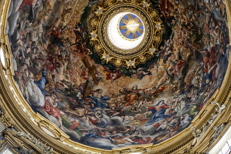 italian fresco: Interior dome in The church of SantAgnese in Agone