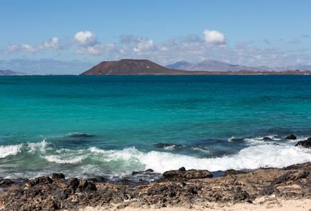corralejo: View of Lobos island from Beach in Corralejo, Fuerteventura, Canary Islands, Spain