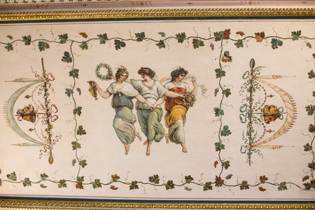 ROME, ITALY - JUNE 14, 2015:  Art painting of wall  in  Villa Borghese, Rome, Italy