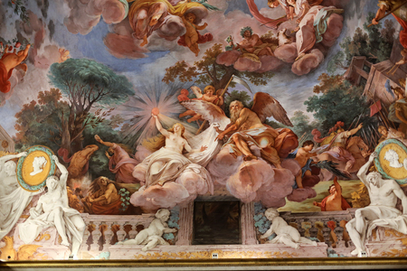 villa borghese: ROME, ITALY - JUNE 14, 2015:  Art painting of ceiling in central hall of Villa Borghese, Rome Editorial